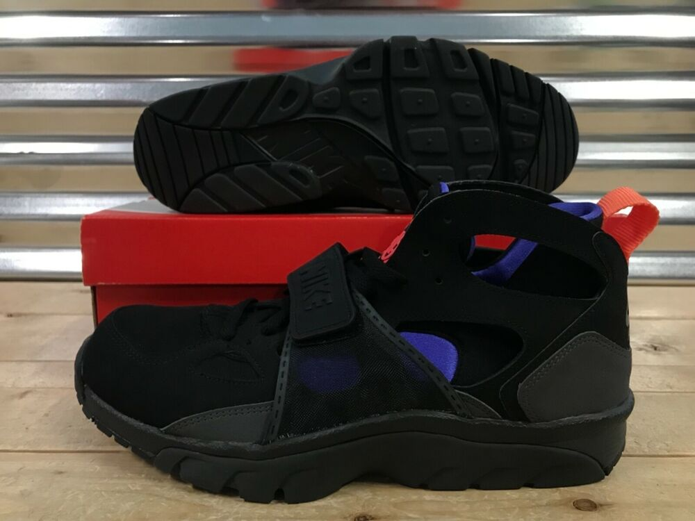 new style 7a15d bab4d Details about Nike Air Trainer Huarache Running Shoes Black Anthracite  Purple SZ (679083-018)