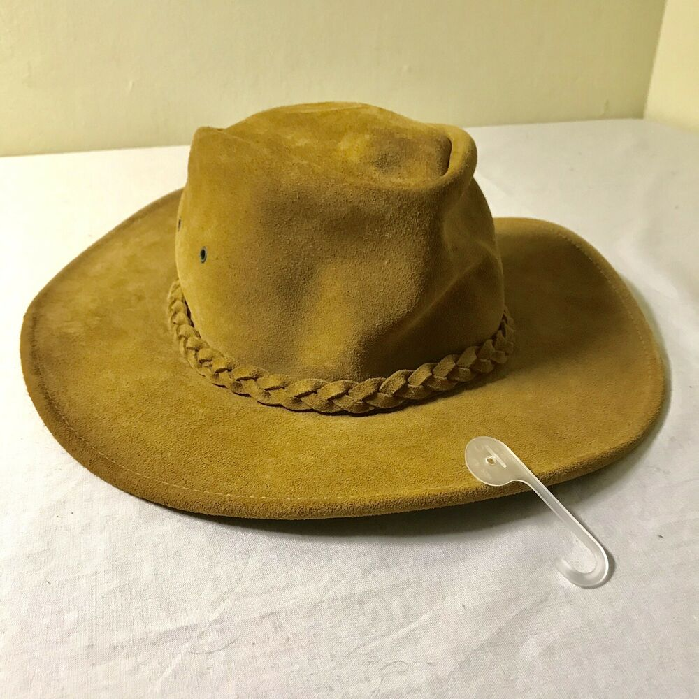 Details about HENSCHEL HAT CO GENUINE SUEDE LEATHER HAT BROWN OUTBACK L USA  MADE NWOT 6a0928d32be3