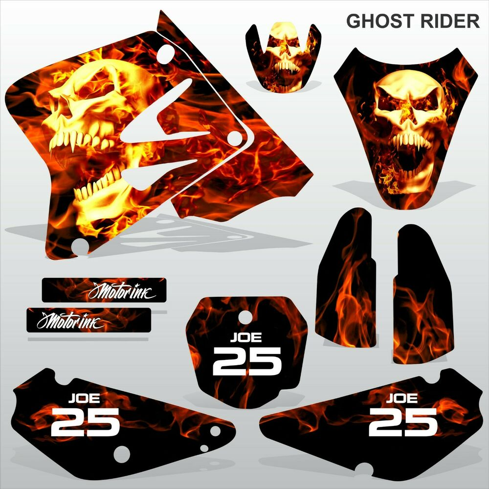 Details about suzuki rm 85 2001 2012 ghost rider motocross racing decals set mx graphics kit