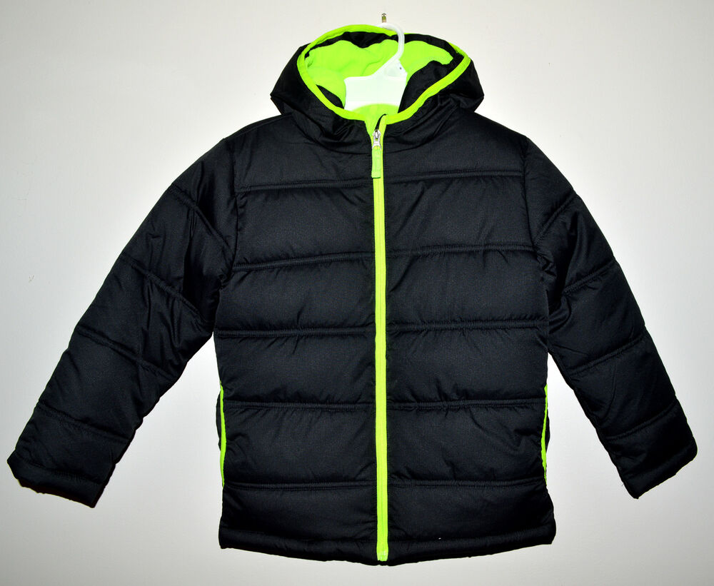 4cf17c9eb378 NEW Faded Glory Boys Bubble Winter Puffer Insulated Jacket 6-7 Black ...