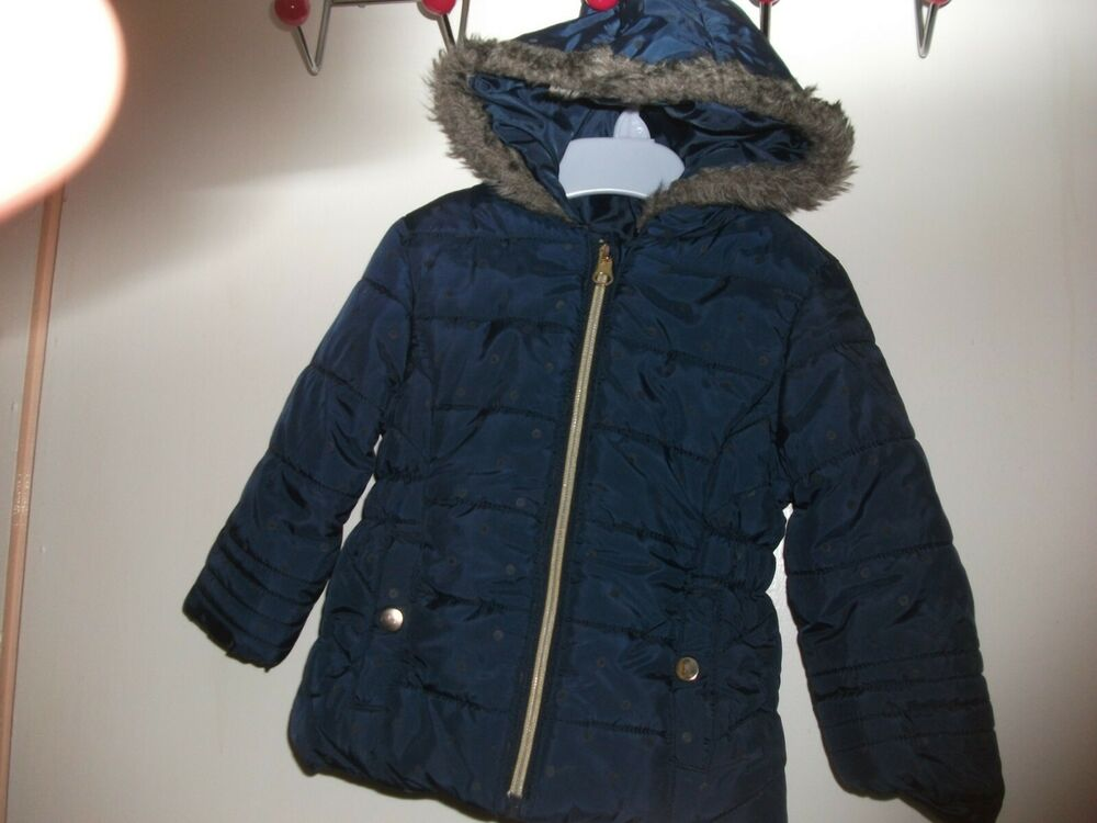 1a9367dcaefd Baby Girls Navy Blue Hooded Zip-Up Padded Coat   Anorak - Age 9-12 ...
