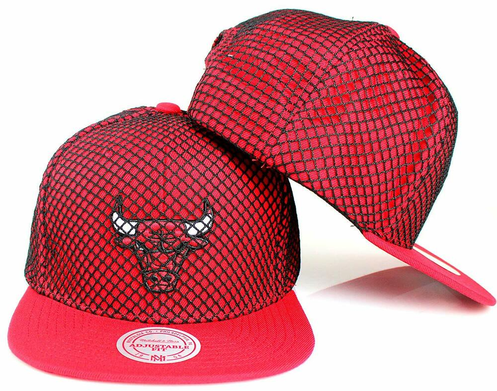 Details about Mitchell   Ness Men s Chicago Bulls Champion Net Snapback Cap  Black Red One Size bdda9f34a25b