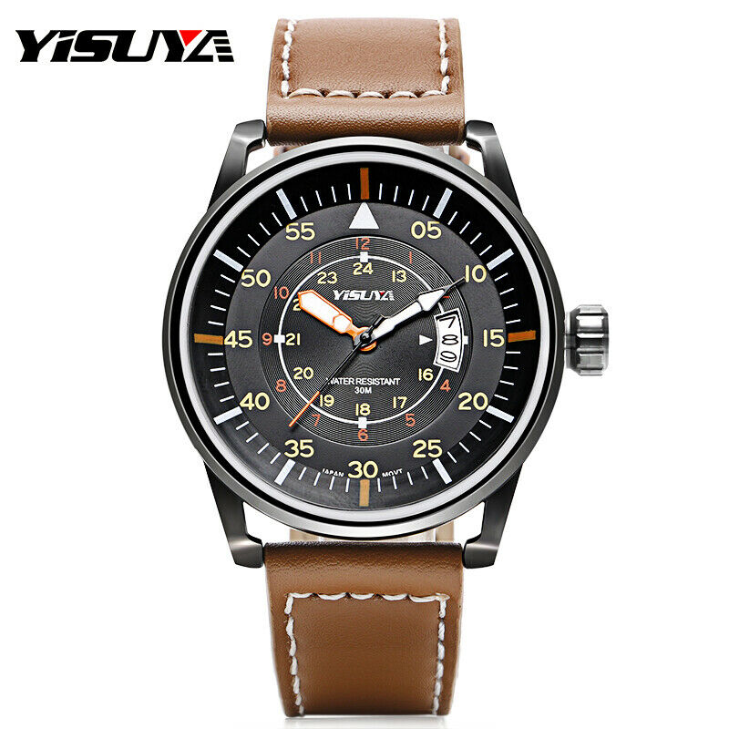 1b510cab1 Details about YISUYA Men's Military Quartz Movement Wrist Watch Genuine  Leather Band Bracelet