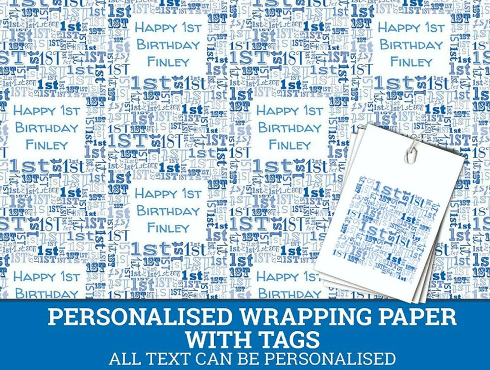Details About Personalised Happy 1st Birthday Wrapping Paper