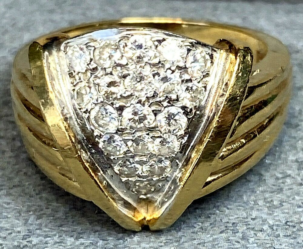 695e77095c Details about Diamond Arrowhead 14K Yellow Gold Vintage 1940s V-shaped Ring  Ribbed Textured