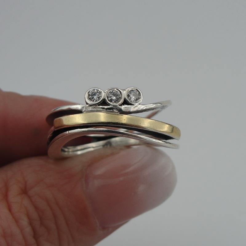 ceb9bf33e Details about Handmade Wedding band, 925 sterling Silver and 9k yellow gold  CZ ring Minimalist