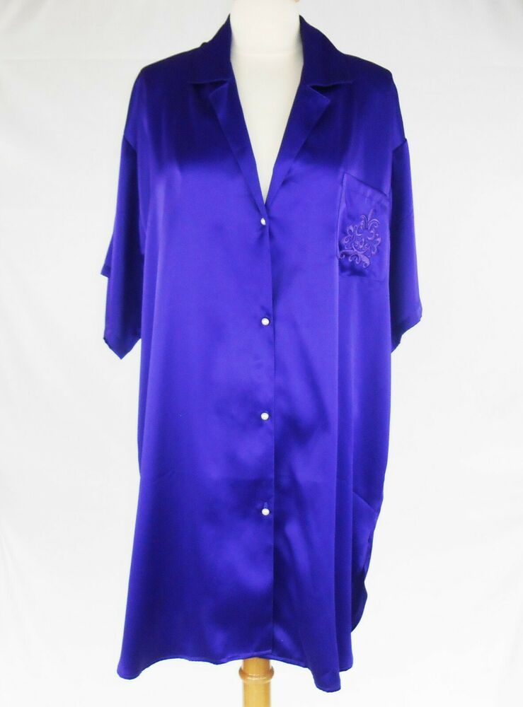 e4dfe9b1a72 Details about Claire s Rose Women s Sleep Shirt Nightgown Satin Purple  Short Sleeve M