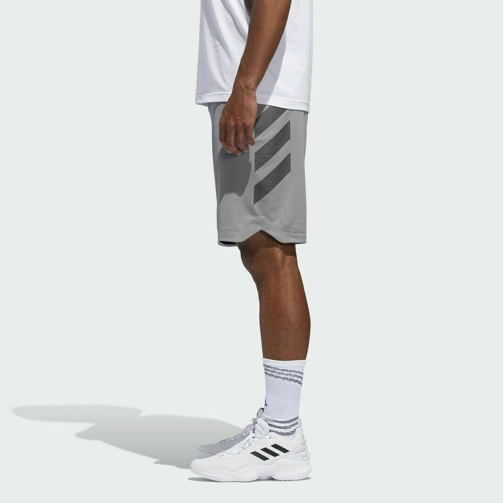 67cf42df63ea Details about Adidas Basketball Accelerate 3-Stripes Short Grey Black Men  Hoops New DM6991 XL