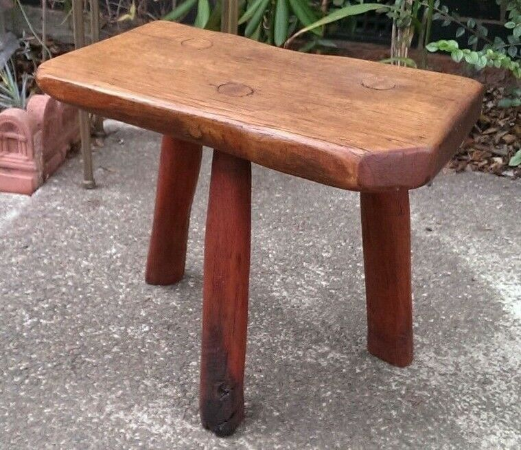 Details About Solid Oak Antique 3 Legged 18th Century Rustic Cottage Stool
