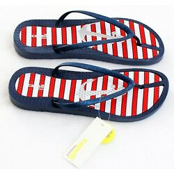 Capelli Red White & Blue Striped Thong Sandals Flip Flops Women's NEW