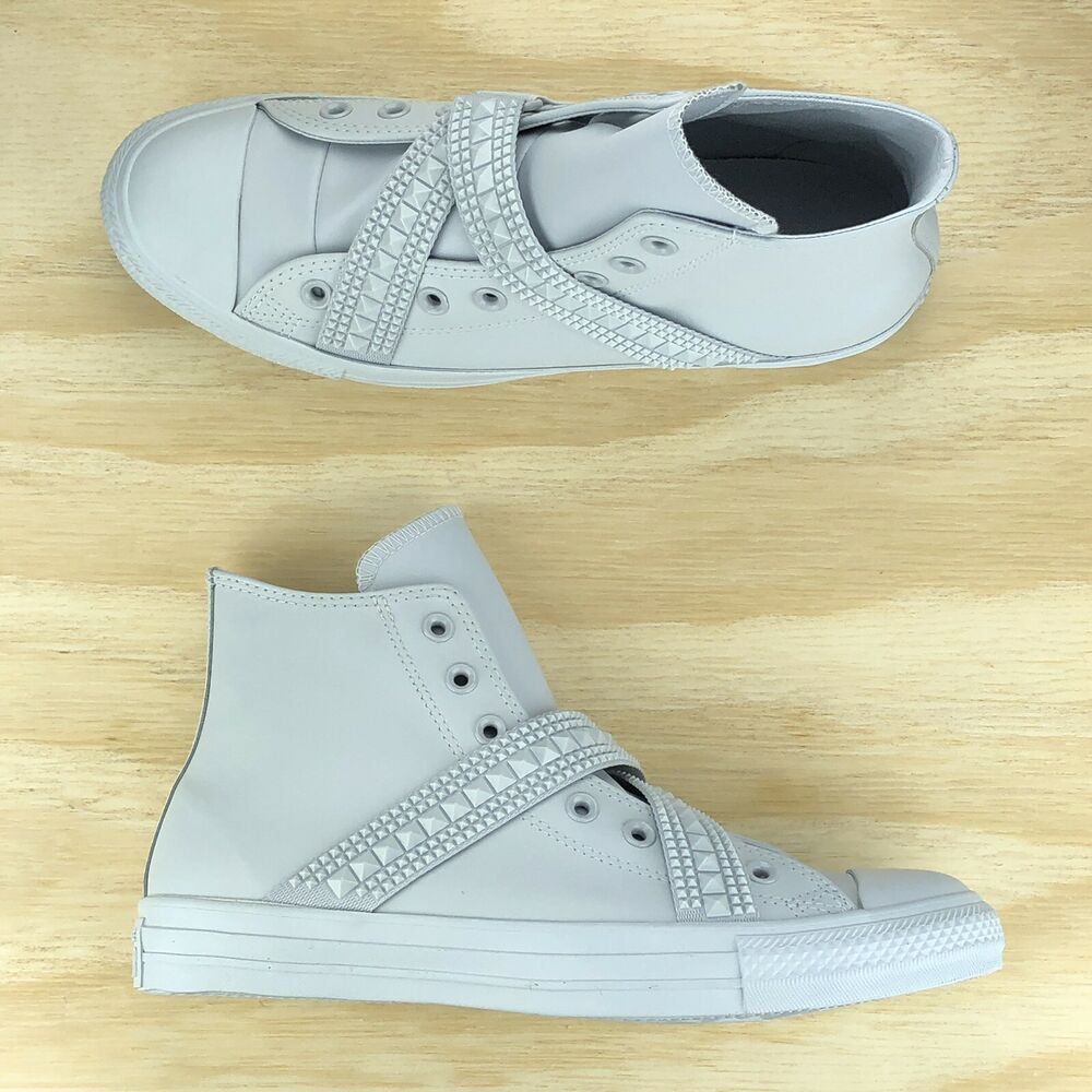 db87eac99299a6 Details about Converse Chuck Taylor All Star Hi Top Punk Strap Platinum  Sneakers 562431C Sz 11