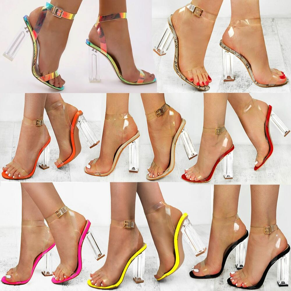 Details about Womens Ladies High Heels Sandals Perspex Hologram Clear Block  Heel Party Shoes
