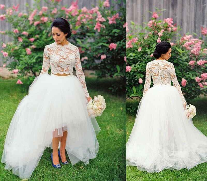 0d38521cd5 Details about Boho Lace Bohemian Wedding Dresses Two Piece High Low Long  Sleeve Bridal Gowns