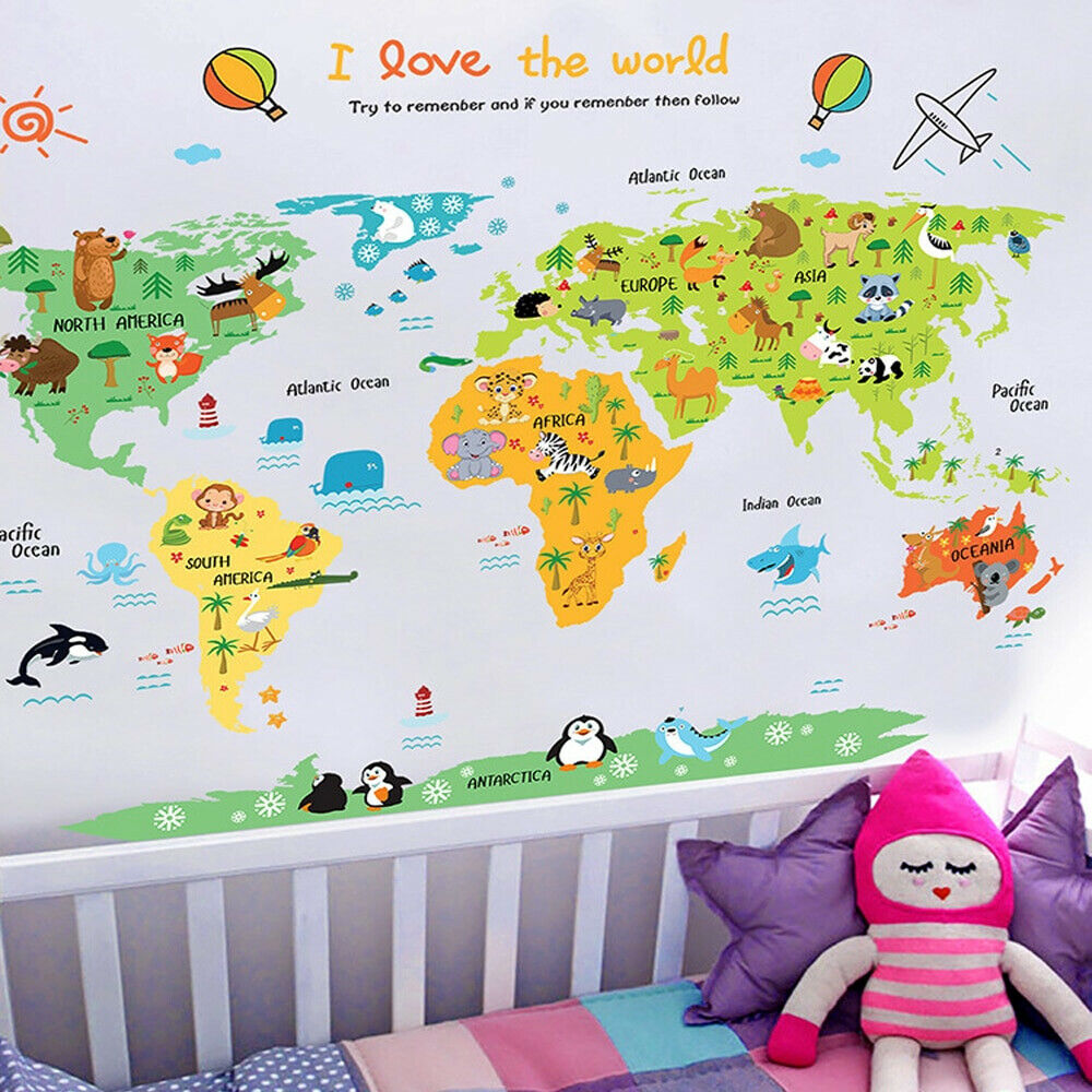 Wall Cartoon World Map Sticker Home Kids Rooms Poster Decal Art ...