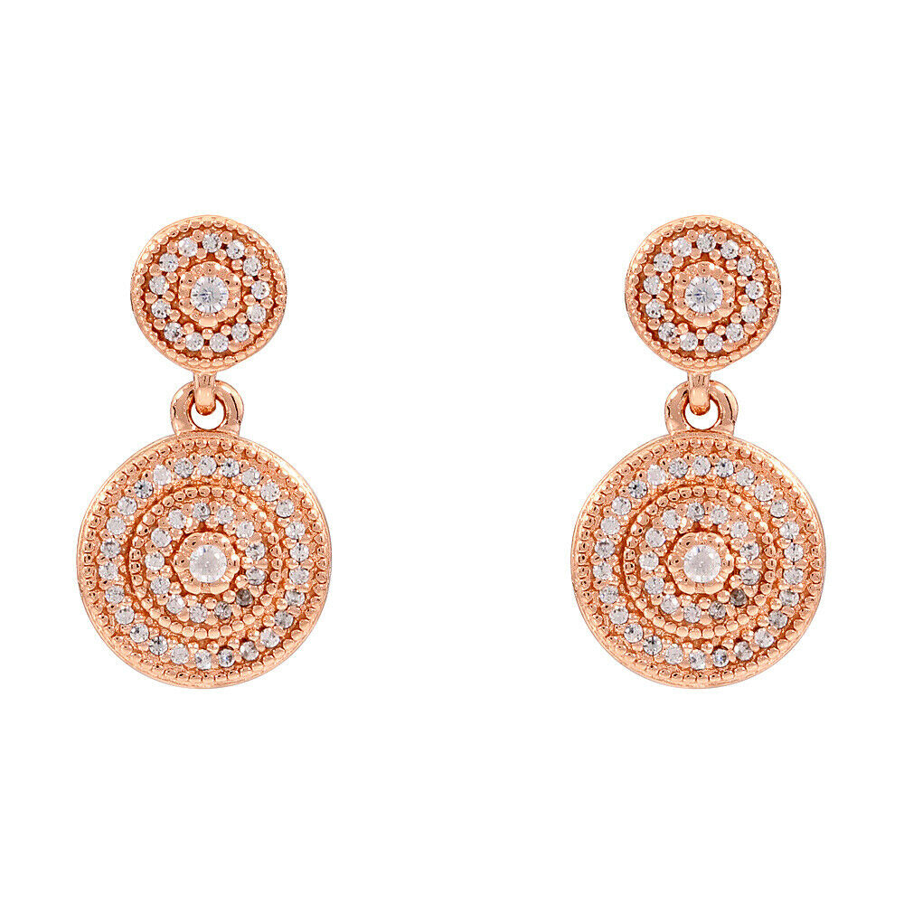 f32cc8305 Details about Pandora Radiant Elegance Rose Gold Drop Earrings With Clear CZ  280688CZ