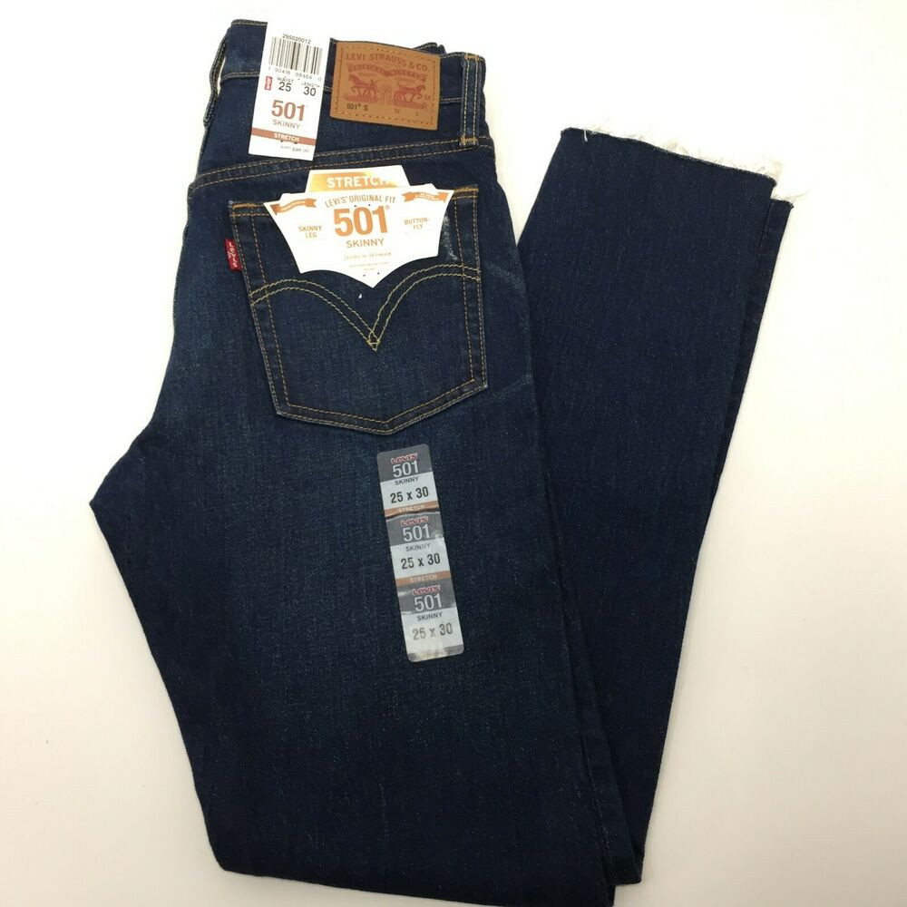 0f31ccbf Details about Levis 501 Womens Stretch Skinny Jeans 295020012 Dark Blue  25x30 AA00030 $98