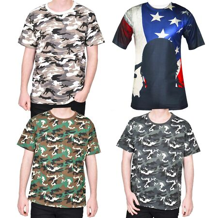 img-Mens Camo T Shirts Camouflage Combat Regular Fit 100% Cotton Short Sleeve Top