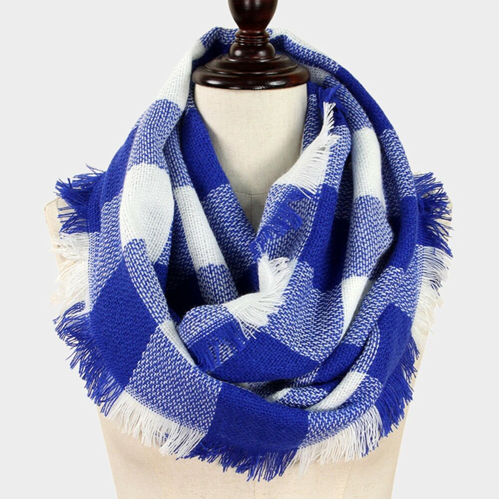 72cea9b80c5 Details about Los Angeles Dodgers Themed Blue  White Buffalo Check Infinity  Scarf with Fringe