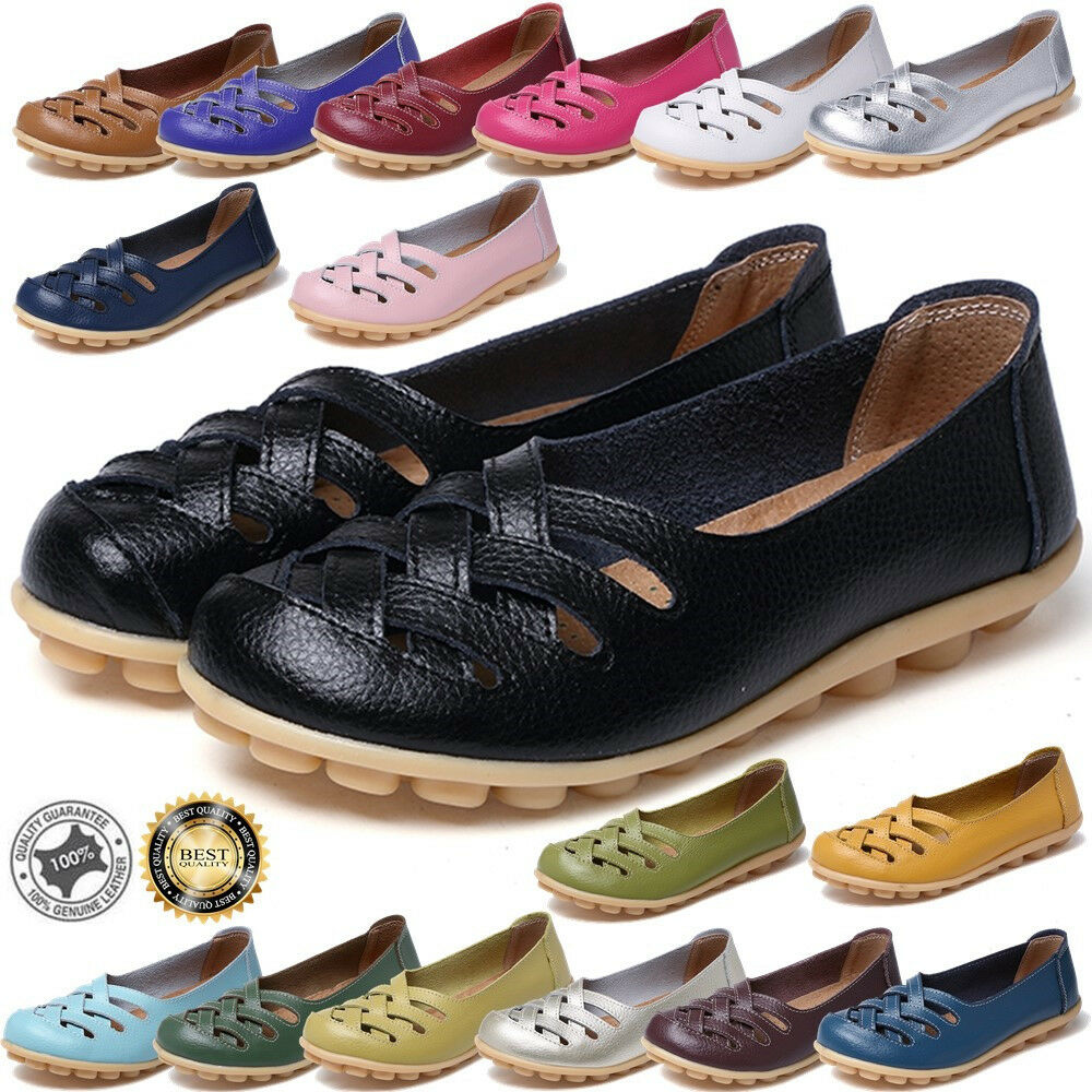 f2d6f5aa94b Details about 4.5-11 Women s Casual Leather Slip on Loafers Flats Boat  Oxfords Shoes Big Size