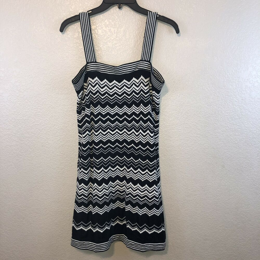 79812f67602 Details about MISSONI for Target STRAPPY SWEATER DRESS Small BLACK   WHITE  Chevron Print