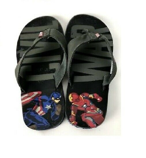 1d6023fdf942 Details about Civil War Flip Flops Captain America Iron Man Sandals Youth  Shoe Size 3 US