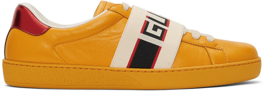 5de4f5fb219 Details about Gucci Mens Yellow New Ace Elastic Band Leather Flat Low Top  Sneakers G 14 15