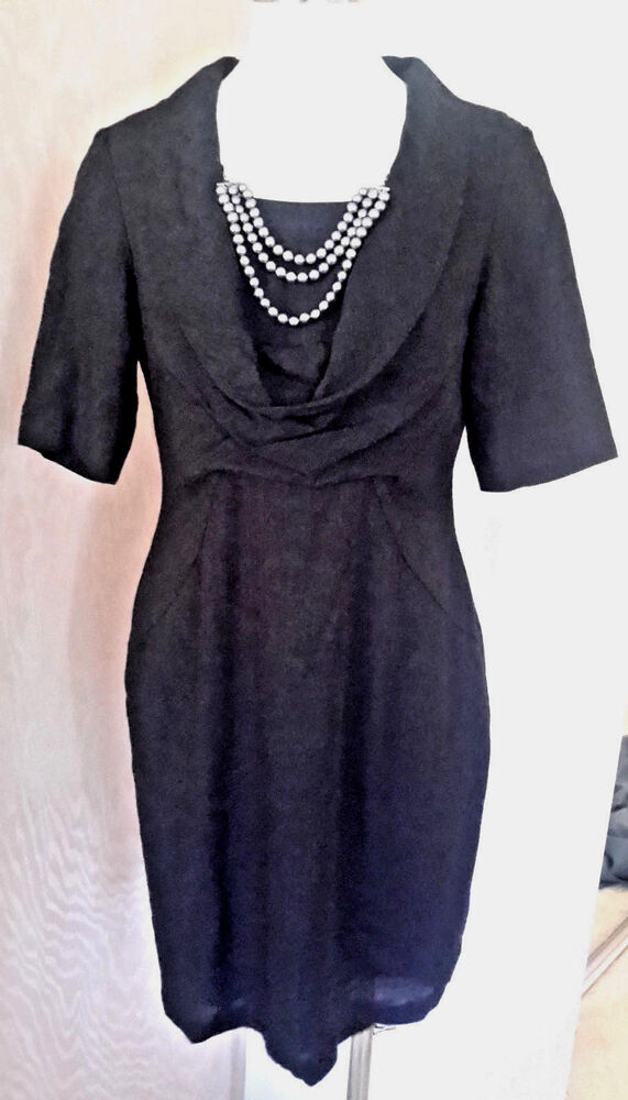 d92ce0f0 Details about Donna Ricco Short Sleeve Black Wool Blend Dress Built In  Necklace Size 10P