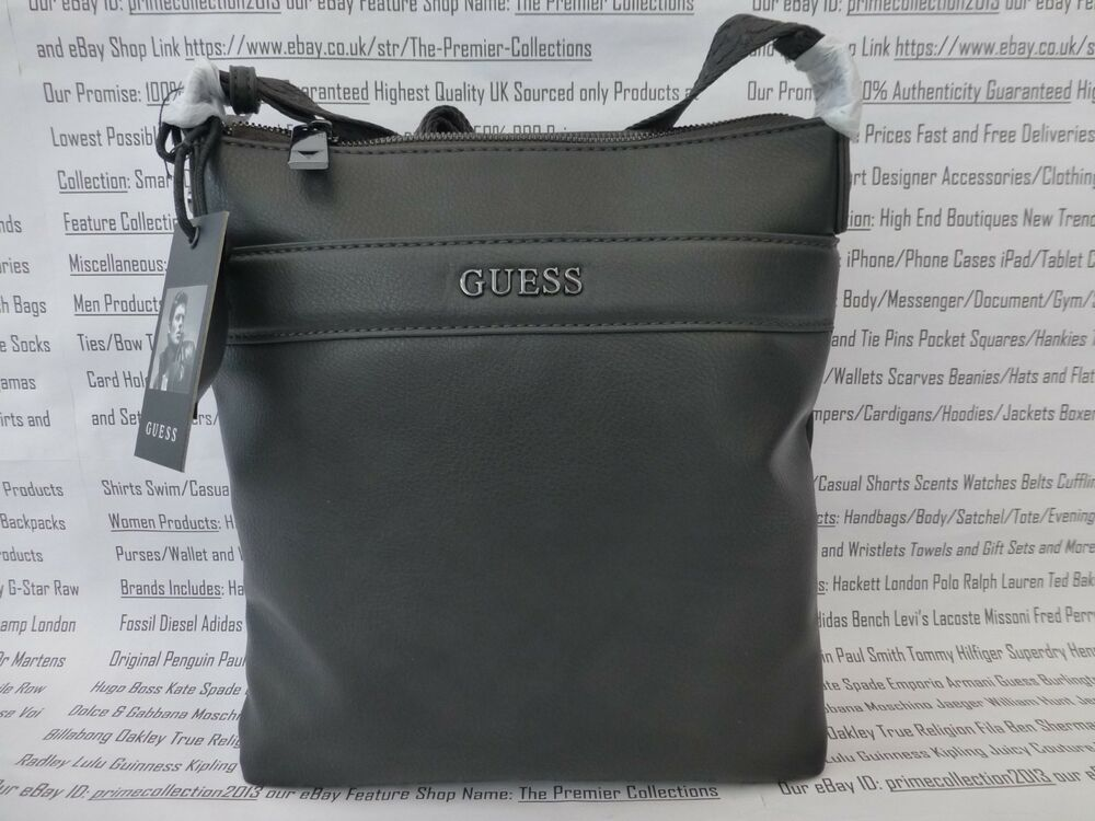 8381dfcc96 Details about GUESS Slim Crossbody Bag 6577 Grey Small-Med & Pouch Pu City  Shoulder Bags BNWT