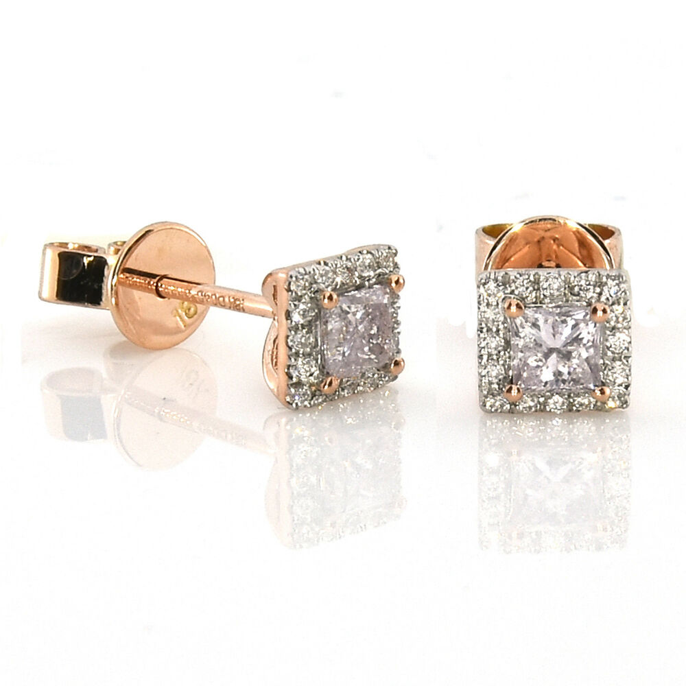 9fe63fcf2 Details about 0.49ct Pink Diamonds Earrings 18K All Natural Princess Cut  Rose Gold VS2-SI2