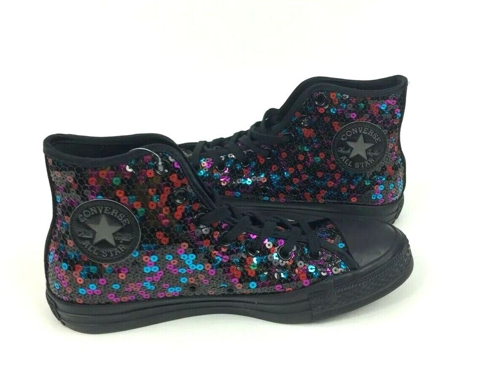 eb6ff64e42e6 Details about NEW Converse Chuck Taylor All Star Hi Black Sequin Womens  Shoes Sneakers Size 8