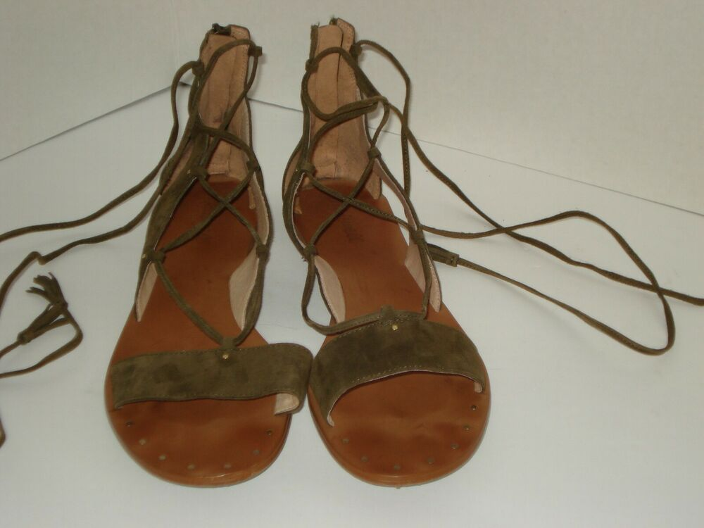 50e87098c369 Details about MADEWELL Bridget Suede Leather Lace-up Sandals F1658 Size 10