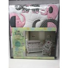 435eee950cd3e Little Bedding by NoJo Elephant Time 4-Piece Crib Pink Bedding Set with  Bumper