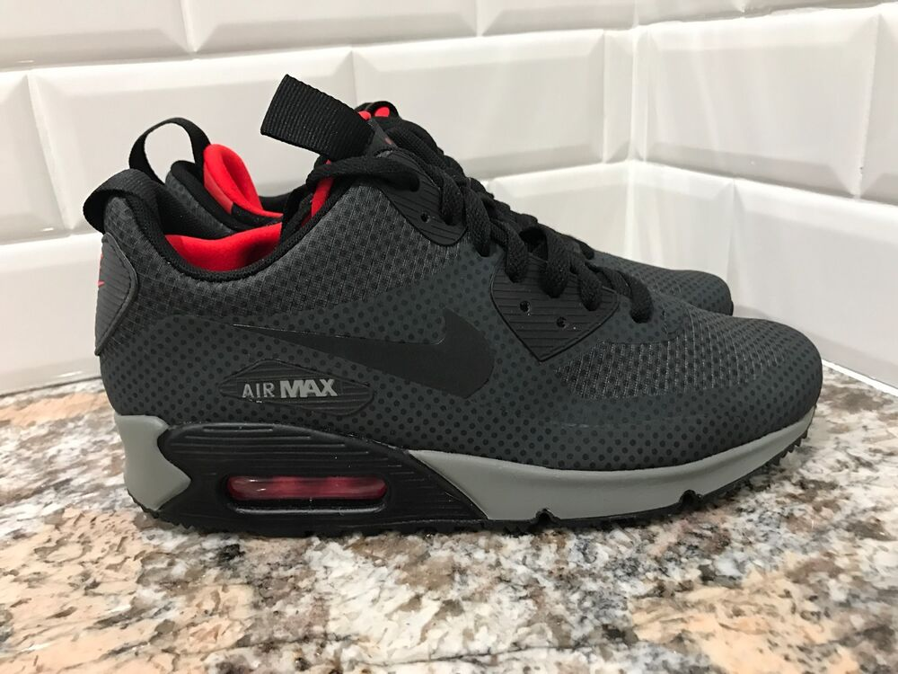 sports shoes f24f1 dd54c Details about Nike Air Max 90 Mid Winter Print SZ 6.5 Anthracite Black  Chilling Red 806850-006
