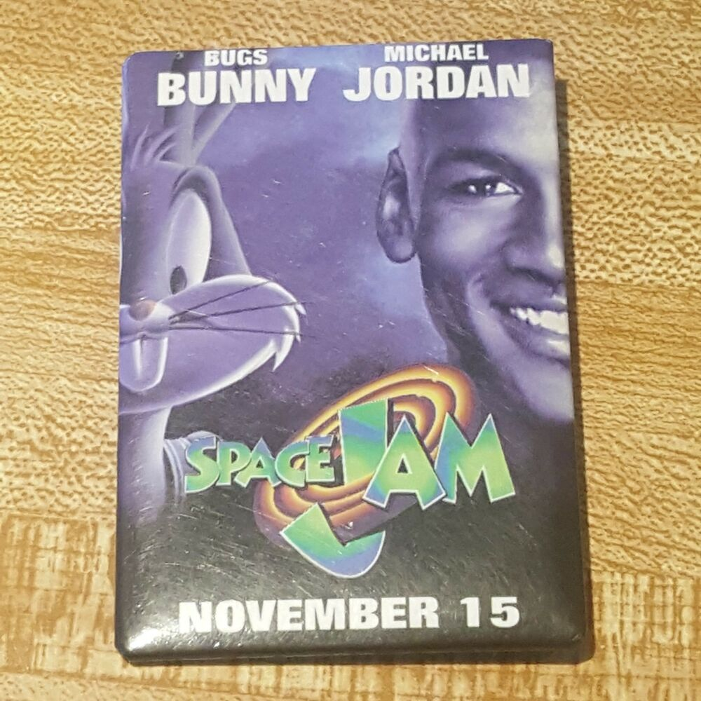 6a7e256f3b34a5 Details about Vintage Space Jam 1996 Picture Pin Movie Michael Jordan  Looney Tunes Bugs Bunny