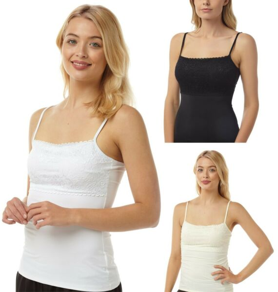Ladies Two Multipack Strappy Lace Top Camisole Vests Stretchy vest UK 10 - 22