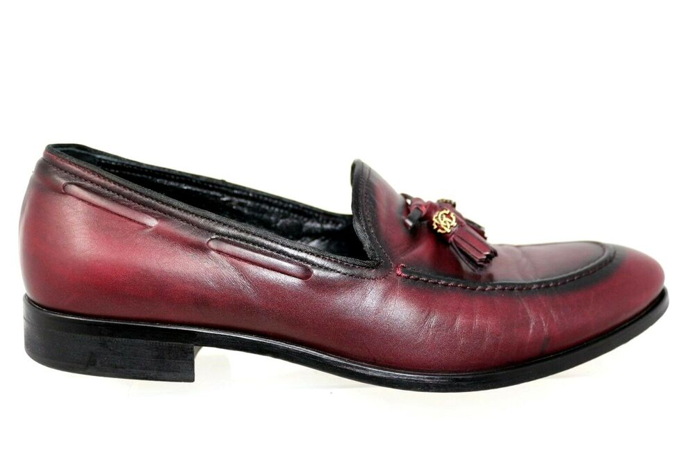 f5e986b9c46 Details about Roberto Cavalli 1303 Burgundy Leather Moc Toe Loafer Dress  Shoes Mens 42 US 10