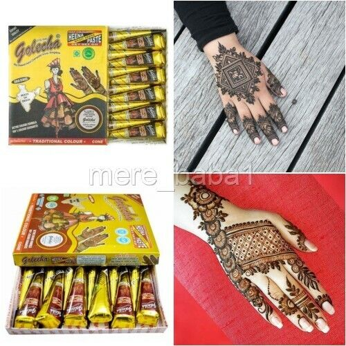 7a97ffbfe6851 Details about WHOLESALE INSTANT PURE BLACK HENNA TATTOO CONES + RED MARRON CONE  FRESH INDIAN