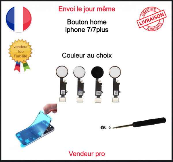 Nappe Bouton Home Complet Iphone 7  7 plus  7+ Blanc Noir Rose Gold Or Qualité