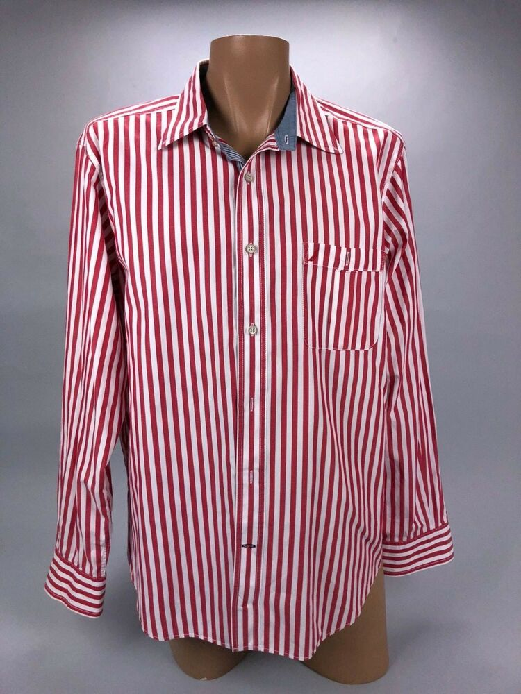 1ba61f919 Details about Nautica Men's Red White Slim Fit Striped Long Sleeve Button  Down Shirt Size L