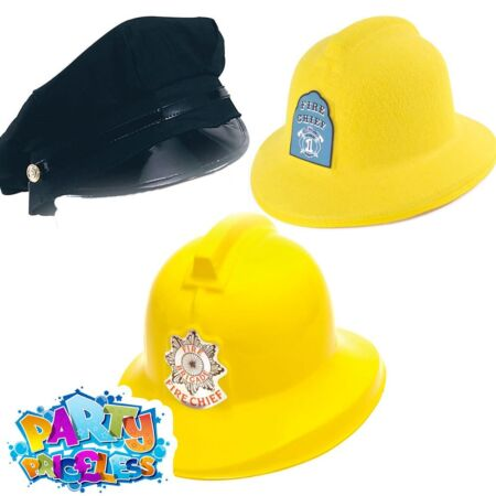 img-Adults Kids Police Hat Fireman Helmet Firefighter Cop Fancy Dress Accessory