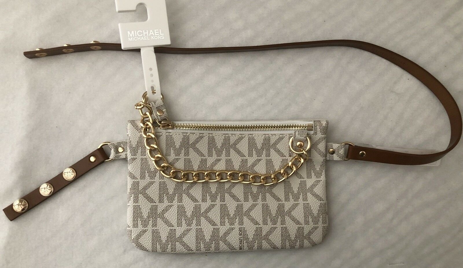 ee67dd58381b44 UPC 884585656452 product image for Michael Kors Pvc Mk Vanilla Fanny Pack  With Gold Chain, ...
