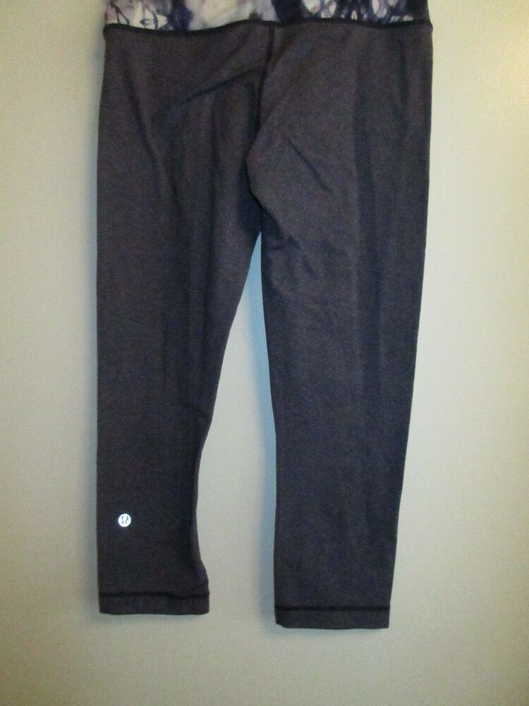 b8f7b8ce35ad4e Details about Lululemon Athletica 4 Workout Stretch Yoga Pants Leggings  Cropped Gray Blue Gym