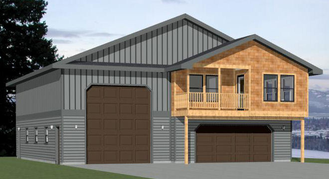 Rv Garage Plans With Apartments: 44x48 Apartment With 2-Car 1-RV Garage