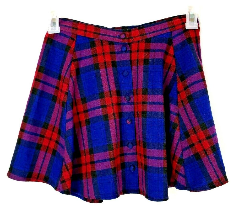 bac9e8256c3321 Details about Forever 21 Buffalo Plaid Circle Skater Skirt Button Up Blue  Red Junior Small
