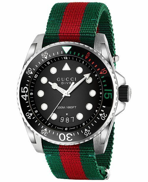 e2d2d025dd1 Details about Gucci Dive Black Dial Green and Red Nylon Men s Watch-YA136209