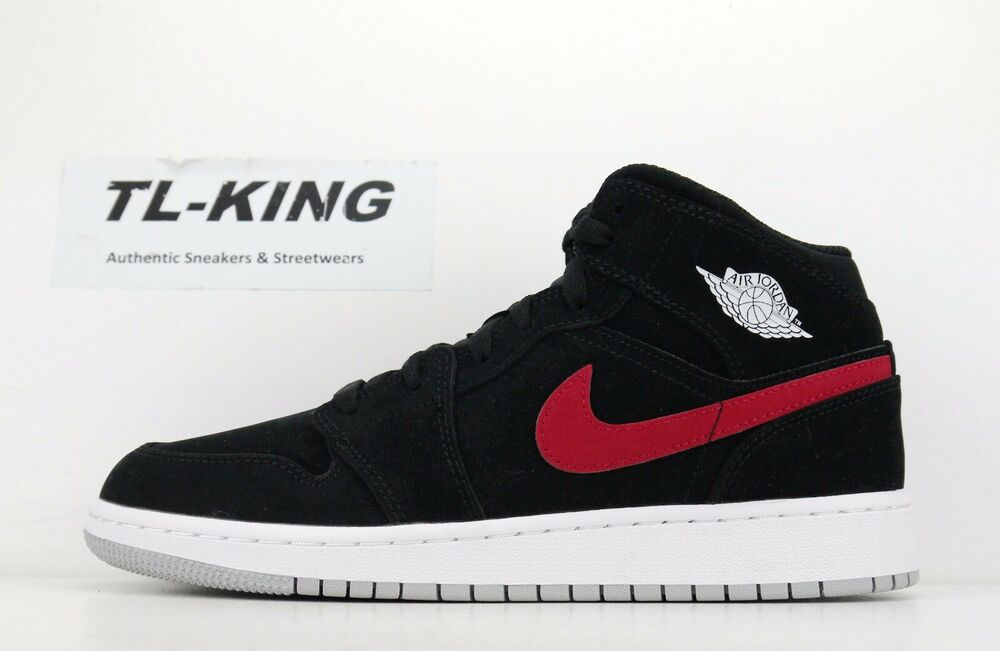 0ecddb712f95 Details about Nike Air Jordan 1 Mid GS Youth Black Red Blue White 554725  065 KJ