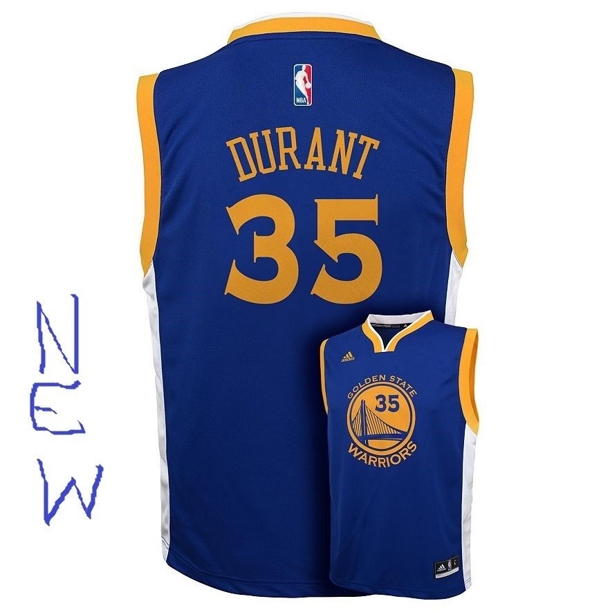 866bc6cdfe9 Details about Kevin Durant Adidas Golden State Warriors Boys Blue Road NBA  Youth Lg Jersey