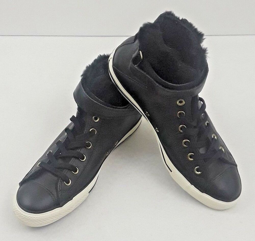 d2306d2c8660 Details about Converse Chuck Taylor All Star Brea Leather Fur High Top  Black Women s Size 11