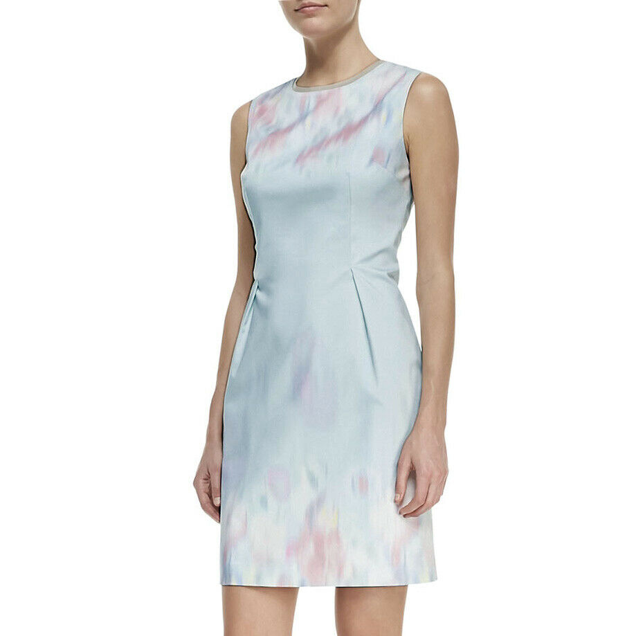 Elie Tahari Soft Sky Blue Watercolor Pastel Garden Party -8654