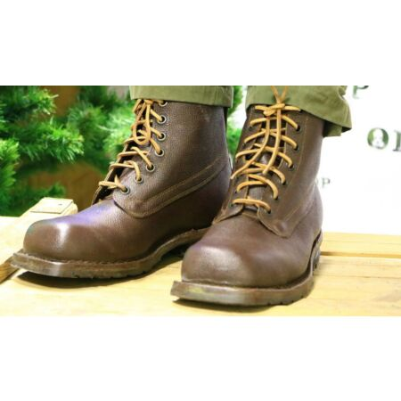 img-WW2 With surprise Swedish Army Work Combat Boots, Full leather BROWN VINTAGE NEW